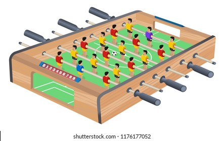 Table Football Game Hobby or Leisure Isometric View. Wooden Table Soccer. Sport team football players. For entertainment sports. Play and fun concept. Kicker, bar football. Kids foosball.