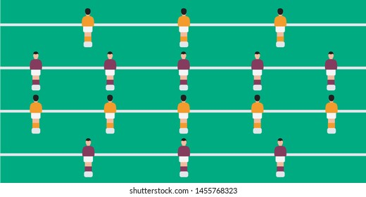 Table football game isolated. players & figures. competition table top simple vector cover & control ball. foosball national team toy flat design & sport group. foosmen play soccer & kicker cartoon