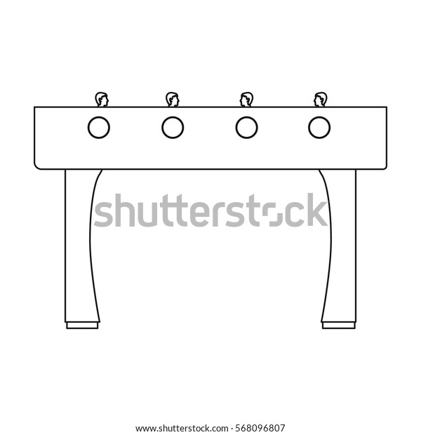 Table football icon in outline style isolated on white background. Board games symbol stock vector illustration.