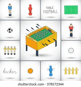 Table football icons set. Hand-drawn cartoon collection of kicker icons - player, game table, field, ball. Doodle drawing. Vector illustration