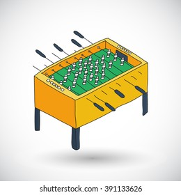 Table football sketch. Hand-drawn hobby or leisure icon. Doodle drawing. Vector illustration
