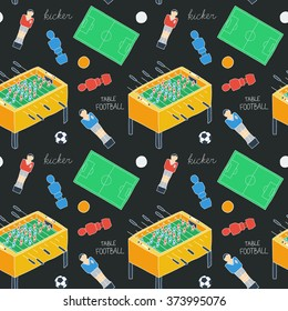 Table football sketch. Seamless pattern with hand-drawn cartoon icons - old-fashioned foosball player ,ball, field, figurine. Doodle drawing. Vector illustration - swatch inside