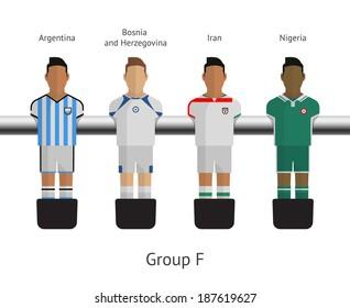 Table football, soccer players. Group F - Argentina, Bosnia and Herzegovina, Iran, Nigeria. Vector illustration.