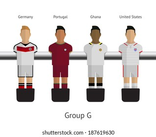Table football, soccer players. Group G - Germany, Portugal, Ghana, United States. Vector illustration.