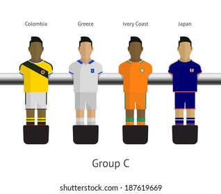 Table football, soccer players. Group C - Colombia, Greece, Ivory Coast, Japan. Vector illustration.