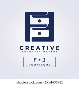 table furniture decor logo icon symbol creative illustration design vector letter mark F U R N I T U R E logo clever logo