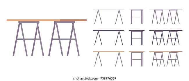 Table furniture set. Trestle compact design desk, simple workstation for modern office. Different colors and positions. Vector flat style cartoon illustration isolated on white background