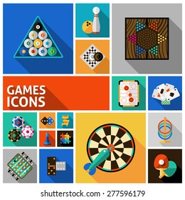Table and gambling games decorative icons set isolated vector illustration