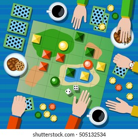 Table game flat vector illustration. Family board game with player's hands. Board game on table with map and playing cards, chips, dices. Table with coffee cups, cookies and board game. Playing arena