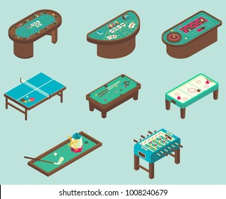 Table game icon set. Vector isometric illustration of air hockey, pool, football, minigolf, ping pong tables.