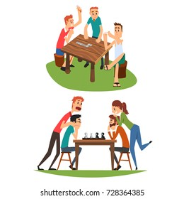 Table games set, friends playing domino and chess, a group of friends to spend time together vector Illustration