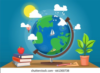 Table globe surrounded by books, apple and plant. School desk with equipment for geography, science class. Round desk globe surrounded by clouds, sun, balloon and airplane, and boat floating on water.