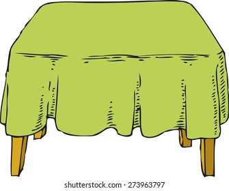 Table with Green Tablecloth. Isolated on white background