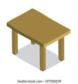 Table icon. Vector isometric hand drawn illustration of tiny cute wood table. For ui, games, and patterns.