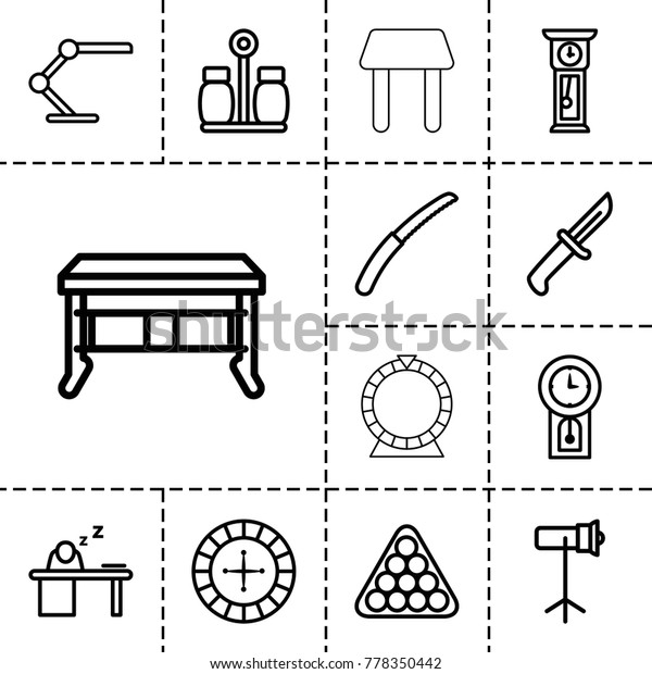 Table Icons Set 13 Editable Outline Stock Vector (Royalty