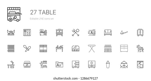table icons set. Collection of table with shaker, closet, fonts, dressing room, cabinet, desk, crockery, iron table, food and restaurant, backgammon. Editable and scalable icons.