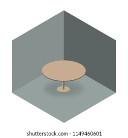 Table in isometric room as an idea of rounded corners make information easier to process. Vector illustration.