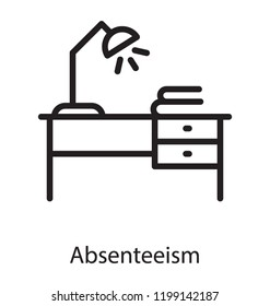 Table lamp and documents without a person known as absenteeism