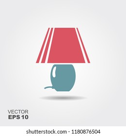 table lamp Icon in flat style isolated on grey background. Vector illustration
