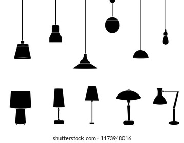 A table lamp on a white background. A vector illustration of a home lamp with a switch. Light in the house.