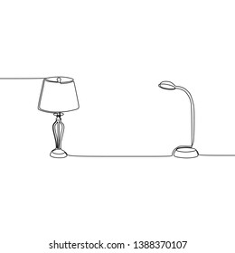 table lamp and street lamp Universal lamp continuous line to use for web and mobile, set of basic lamp isolated vector illustration