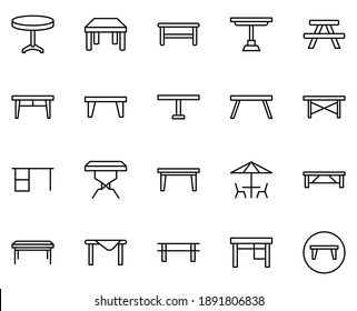 Table line icon set. Collection of vector symbol in trendy flat style on white background. Table sings for design.