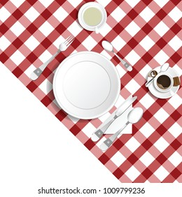 table for lunch with coffee and tea illustration set one