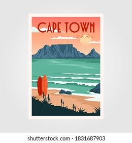 table mountain view in cape town vintage poster illustration design, vintage surf poster design