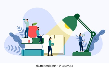 Table office lamp and stack of books with human concepts, vector illustration