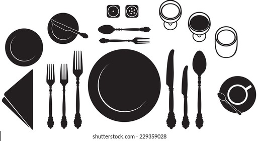 Table place setting black and white