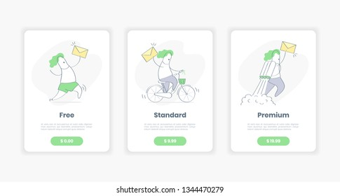 Table price, price list template, three offer tariffs plans for mail or quickly parcel delivery, mailing package. Flat outline clean cartoon design on white background with cute line character.