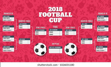Table of results for football championship. Schedule of matches on the background of traditional Russian patterns and football doodles. Football 2018. Vector illustration