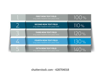 Table, schedule design template with 5 row. Vector banner.