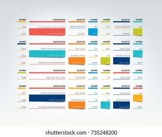 Table, schedule, tab, planner, infographic design template. Vector.