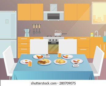Table with served breakfast food and drinks flat vector illustration