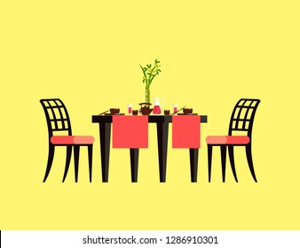 Table serving with ceramics teapot and cups, plates with hashi, glass with drink. Board with chairs on yellow, dining for two, empty dishes 3D vector