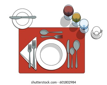 Table setting diagram with eating utensils, cups, placemat