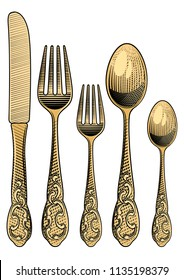 Table setting. Golden retro spoons, forks and a table knife.Vintage stylized drawing of cutlery set. Vector illustration