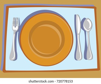 Table Setting - Orange Plate with Silver Fork, Knife and Spoon