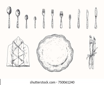 Table setting with plate, fork, spoon, knife, and dinner napkins. Hand drawn vintage vector black and white illustration in a retro woodcut style