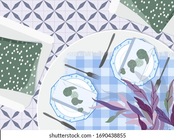 Table setting top down view. Beautiful restaurant table flat lay. Romantic table setting decor. Modern plates, table cloth, fabric napkins and eucalyptus branches. Breakfast in a cozy romantic cafe.