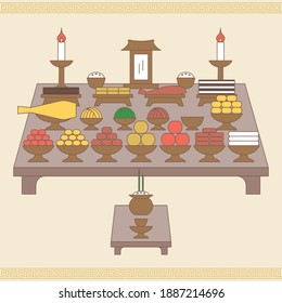 Table setting with various fruits and foods for Korean traditional Holiday (Chuseok, Seollal)