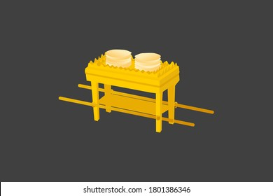 Table of Showbread. Old Testament sanctuary furniture religious imagery vector illustration, book of Exodus. This is where Bread of the Presence was placed.