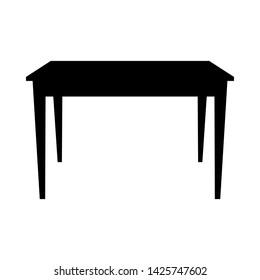 Table Silhouette. Simple Black Design. Vector Illustration.