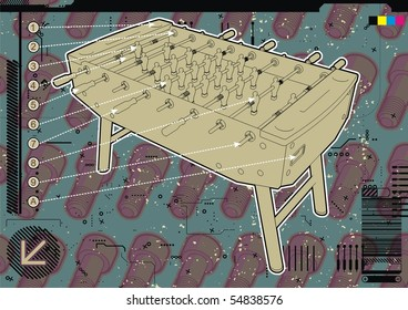 Table soccer design template with screw background.