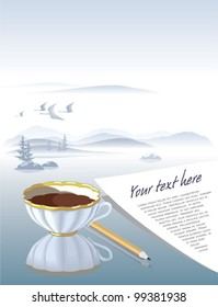 Table surface with coffee cup and paper sheet smoothly goes on as foggy landscape