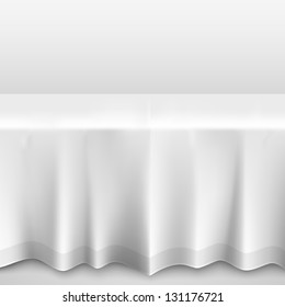 table with tablecloth on a white background, template design element, Vector illustration