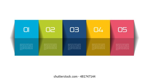 Table template, schedule, 3D, business, brochure. Step by step.