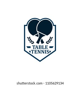 Table Tennis badges emblems logos with simple text designs. Sport labels vector illustration for ping pong club