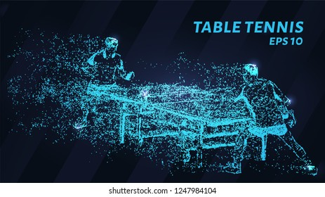Table tennis of blue glowing dots. A game of table tennis made of particles. Vector illustration